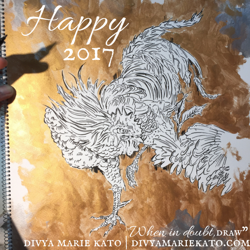 DMK Drawing Jakuchu Ito's Rooster For 2017