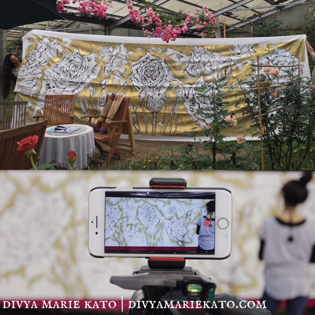 VIDEO: 6 Metre Mural For Japan's International Rose & Gardening Show 2017