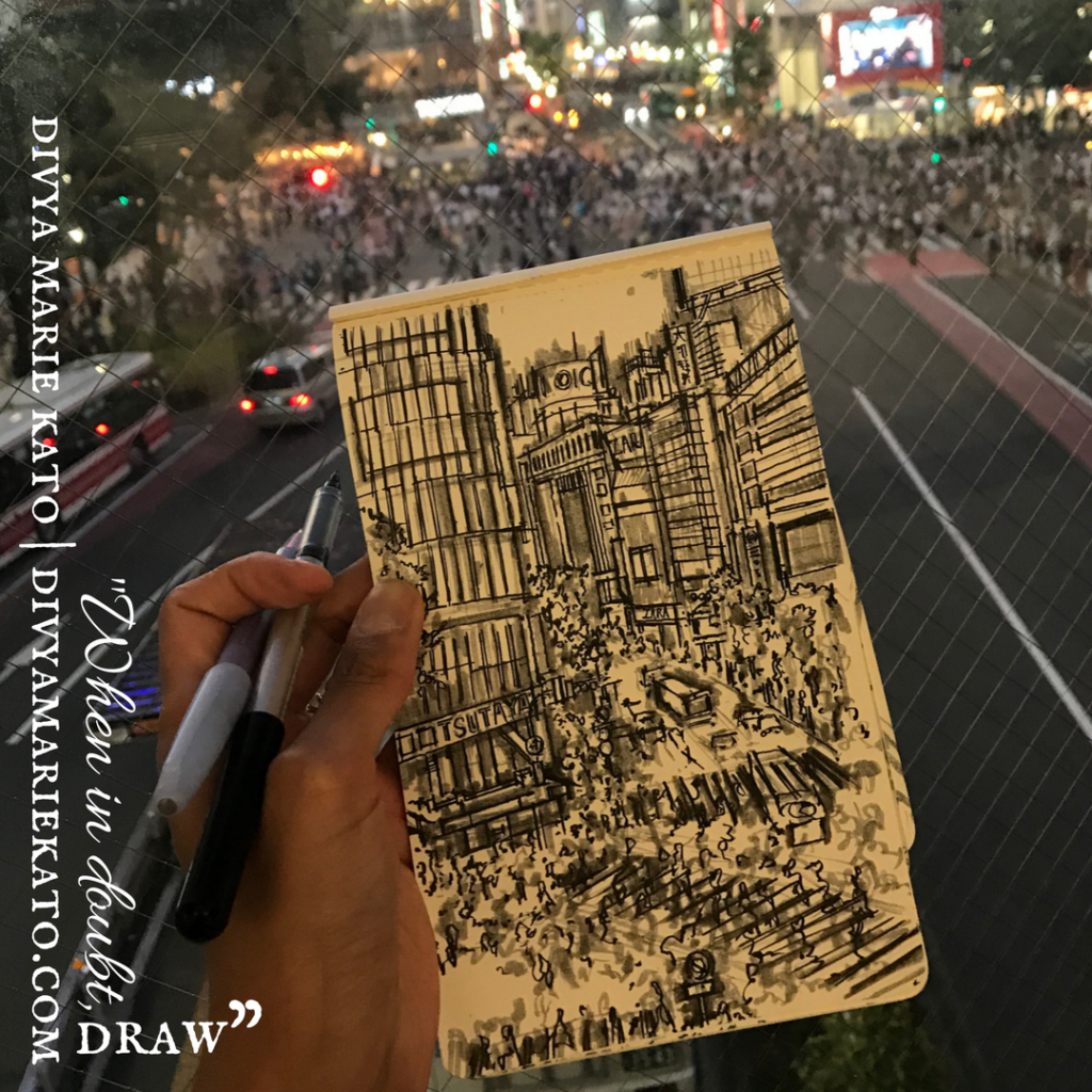 Sketching Shibuya Scramble: DMK Drawings On Instagram