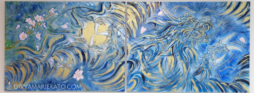 Blue Wind, Private Collection Japan © 2 Panel Diptych (2 x 97 x 130) Dec 2018