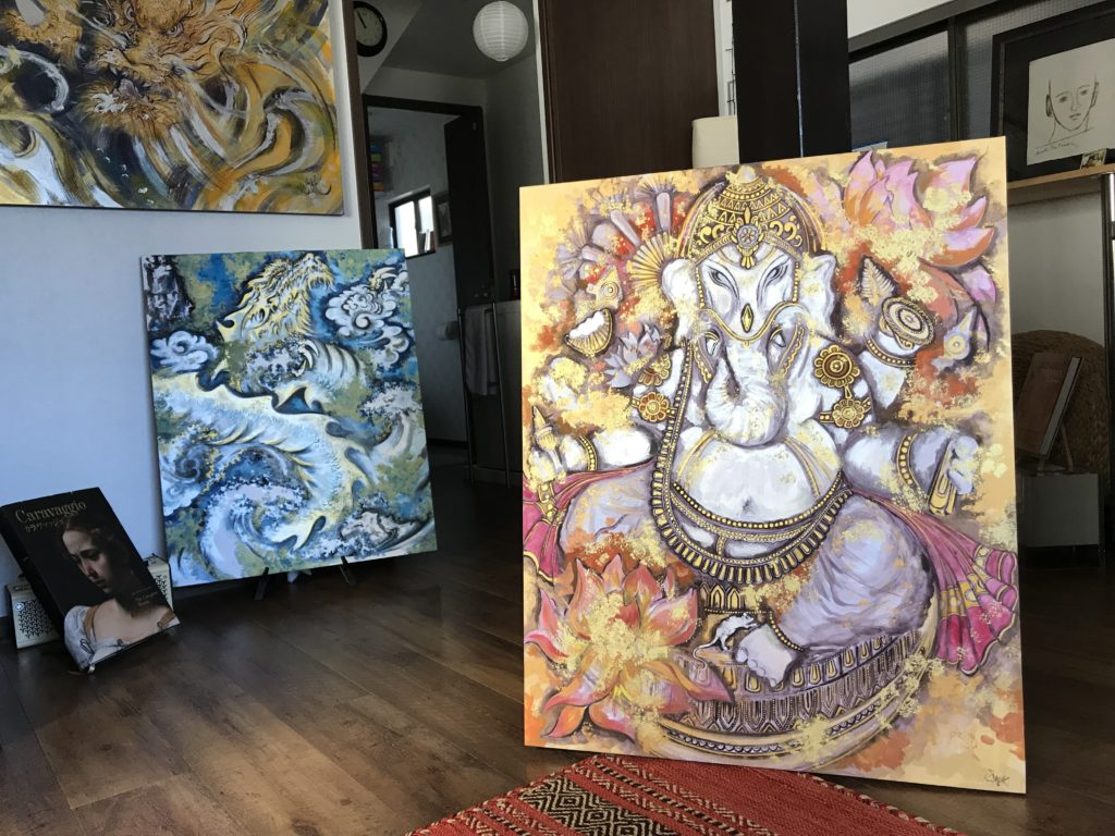 GANESHA (Art For Hope Project), Sumi & Mixed Media, Washi On Board, 90 x 73 (F30), November 2019 ©