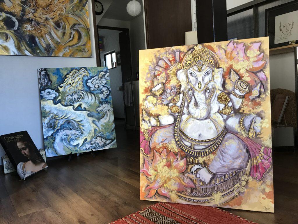 GANESHA (Art For Hope Project), Sumi & Mixed Media, Washi On Board, 90 x 73 (F30), November 2019 ©